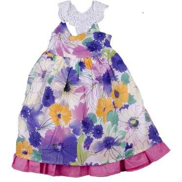 Цветна рокля с дантелени презрамки