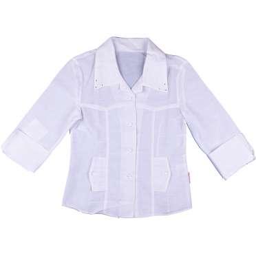 Риза момиче 7/8 ръкав в бяло